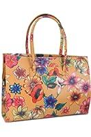 Belli sac à bandoulière sac business ® cuir cognac avec motifs fleurs - 40 x 30 x 10 cm (H x L x P)