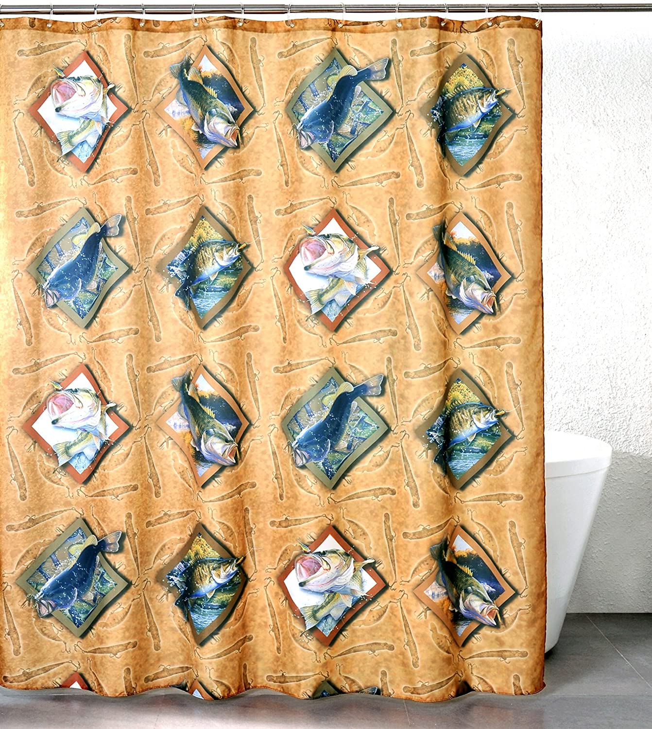 Amazon Bass Hooked Polyester Shower Curtain Home Kitchen