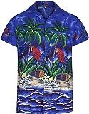 Mens Hawaiian Shirt Short Sleeve Parrot STAG Beach Holiday Bird Fancy Dress Hawaii - All Sizes