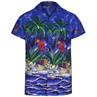 Mens Hawaiian Shirt Short Sleeve Parrot STAG Beach Holiday Bird Fancy Dress Hawaii - All Sizes