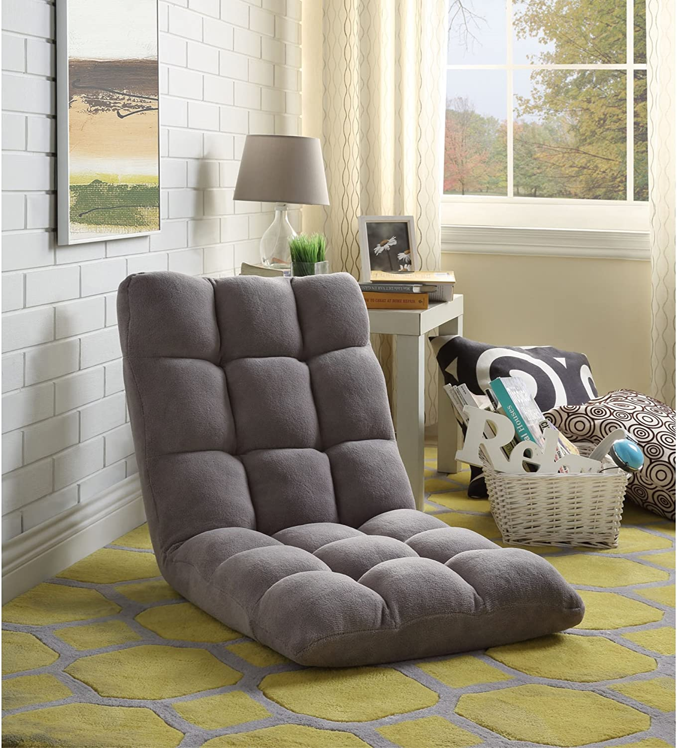 Loungie Microplush Recliner Chair, Grey