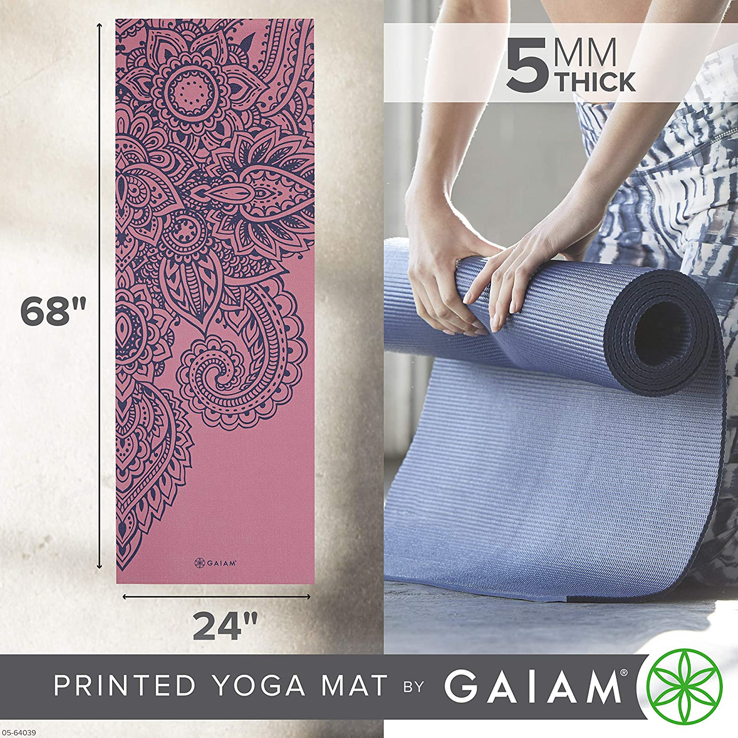 Premium 5mm Print Thick Non Slip Exercise /& Fitness Mat for All Types of Yoga Pilates /& Floor Workouts 68 x 24 x 5mm Gaiam Yoga Mat