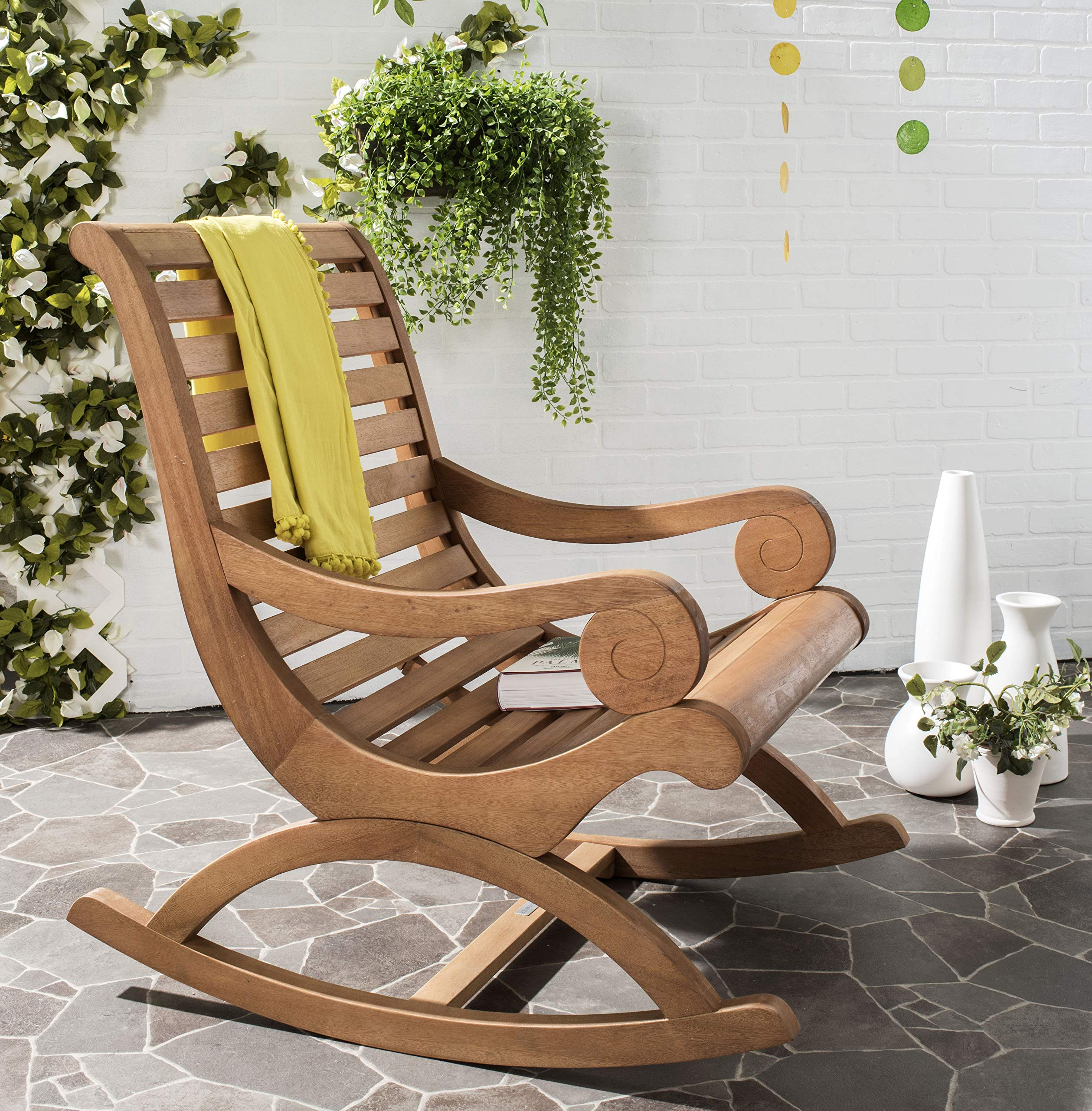 Safavieh PAT7016B Outdoor Collection Sonora Rocking Chair, Teak Brown