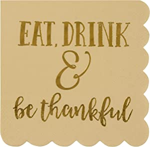 Be Thankful Brown Paper Napkins for Thanksgiving Party (5 x 5 In, 50 Pack)