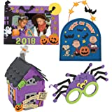 Halloween Craft Kit DIY | 3D Haunted House, Dated Picture Frame Magnet, Snoopy Trick or Treat Door Sign, & Children Spider Glasses | Kids Boys & Girls Family Holiday Activities Project Gift Set
