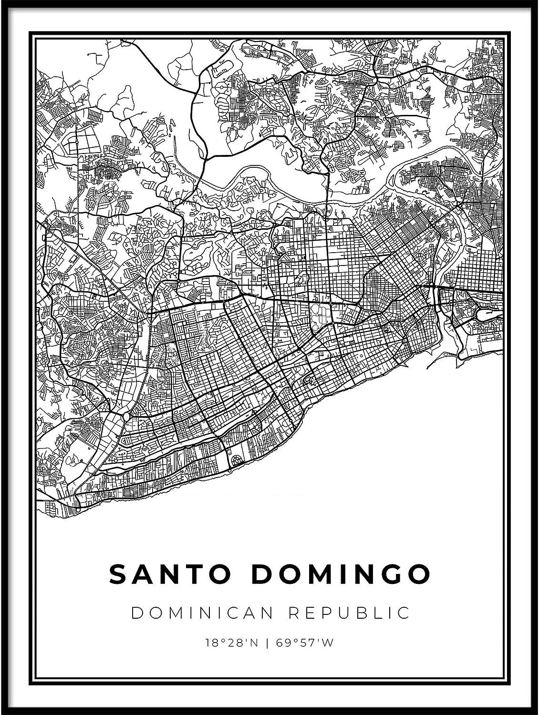 Skanndi Santo Domingo Map Print, Dominican Republic Map Art Poster, Modern Wall Art, Street Map Artwork 16x20