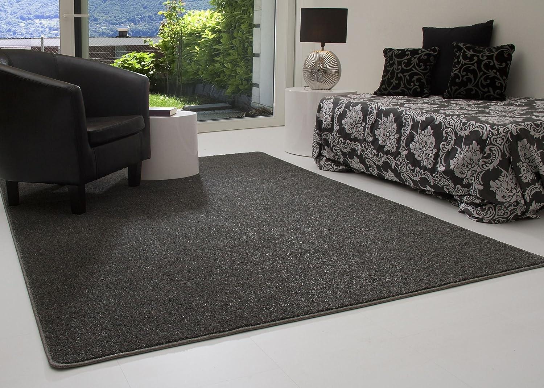 Designer Teppich Modern Margate in Anthrazit, Größe  240x290 cm, Wohnzimmer, Kurzflor