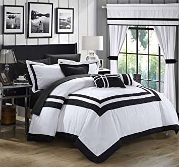 Chic Home Ritz 20 Piece Comforter Set Color Block Bed in a Bag with Sheets  Curtains, Queen, White