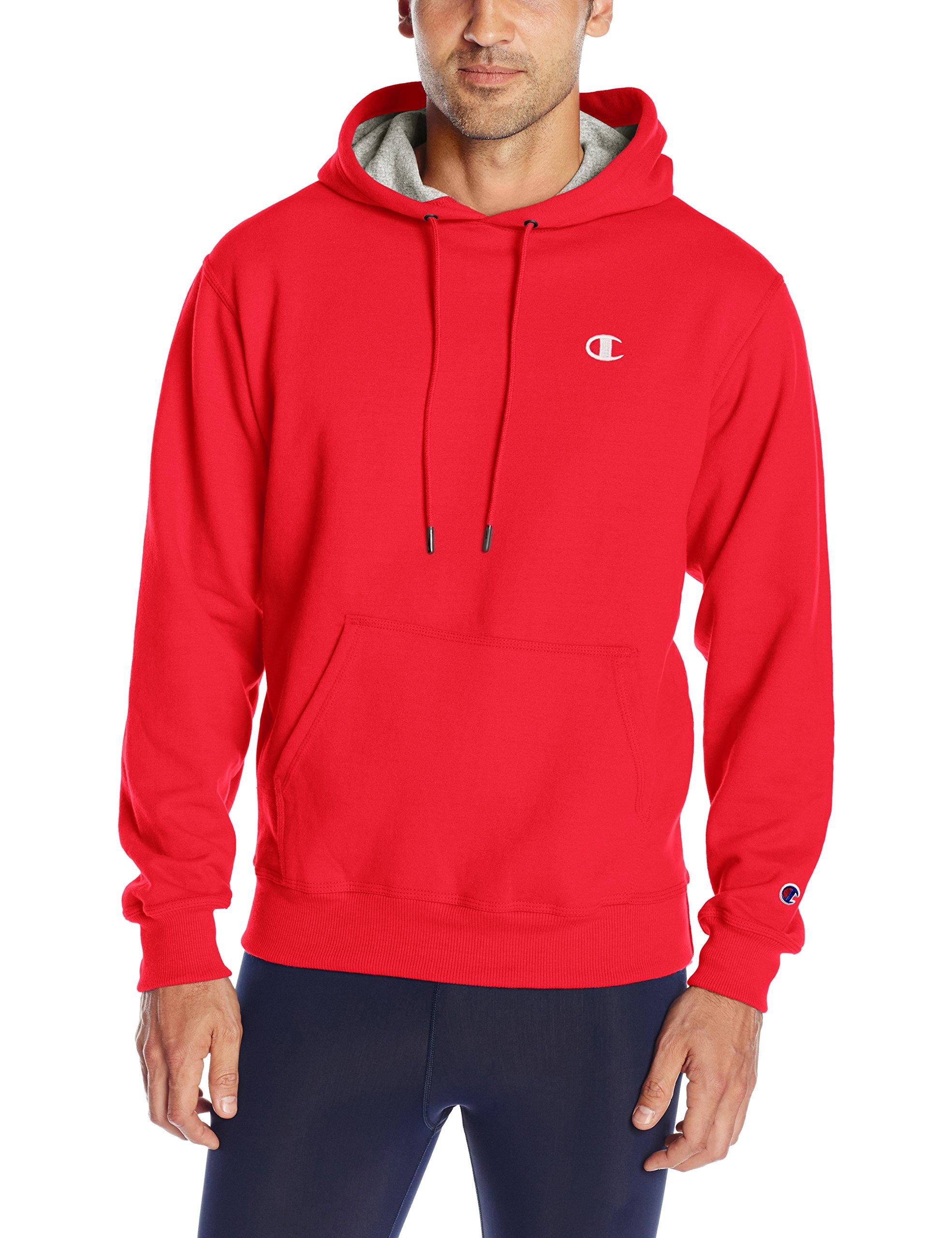 Champion Men's Powerblend Pullover Hoodie, Team red Scarlet/White Embroidered c Logo, Medium