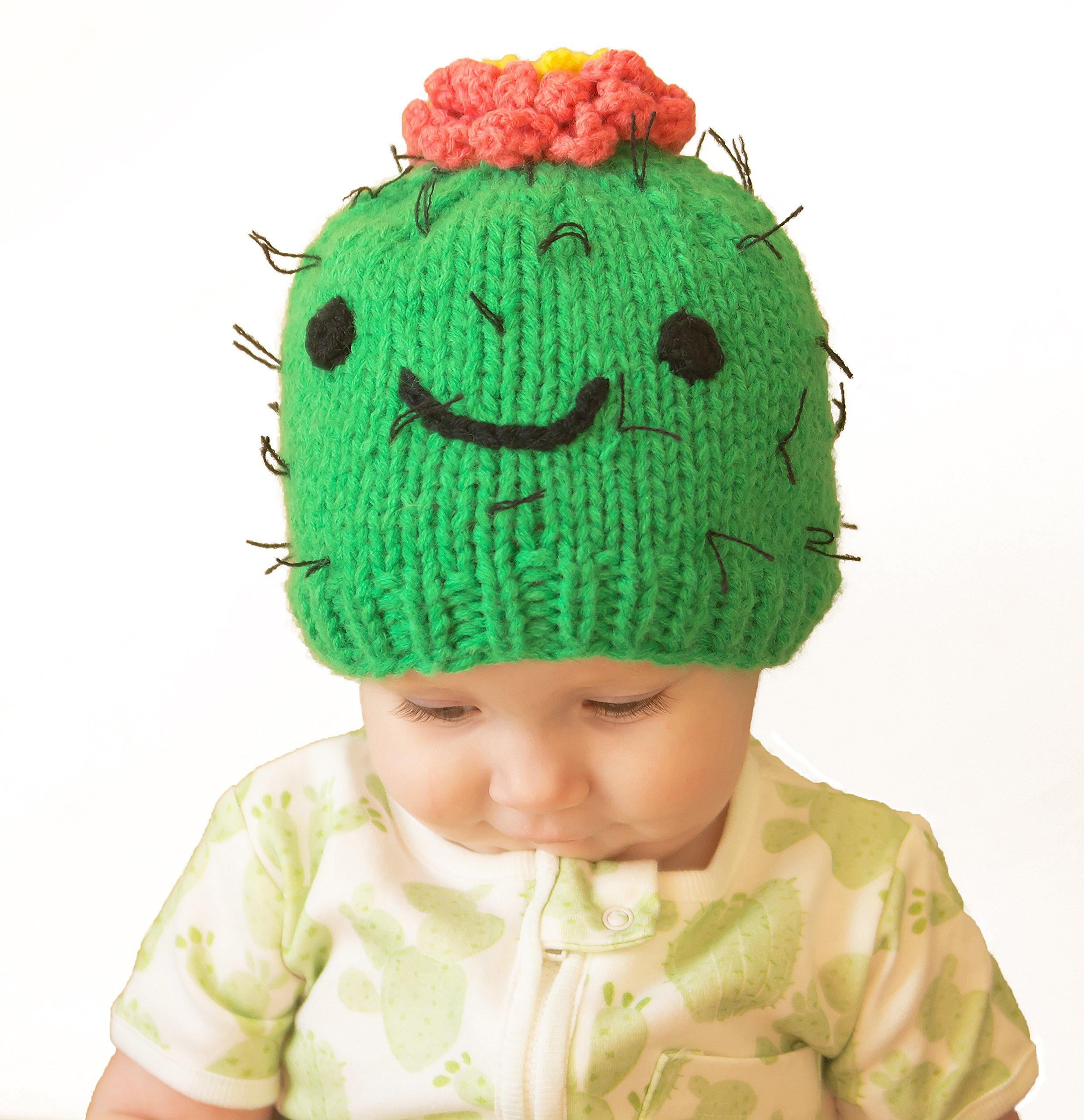 Huggalugs Baby and Toddler Prickly Succulent Cactus Knit Beanie Hat S Green by Huggalugs