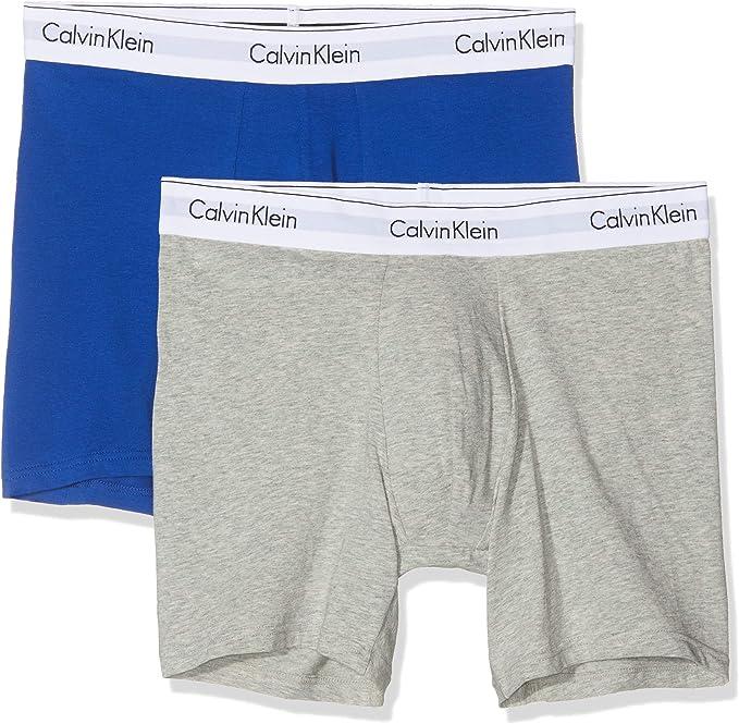 Calvin Klein Boxer Brief 2pk, Gris (Grey Heather/Surf The Web Skj ...