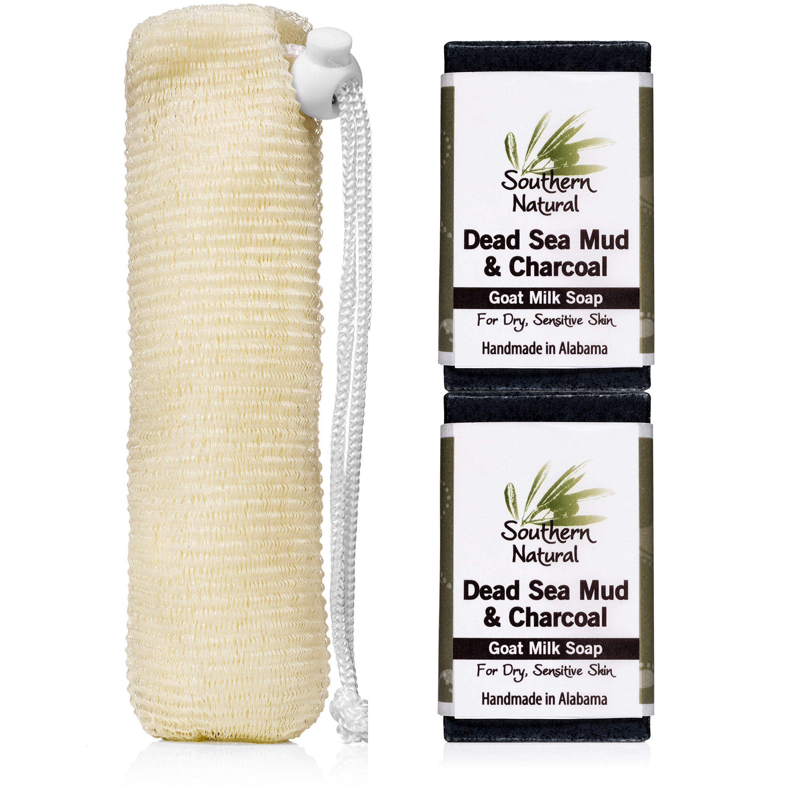 Bamboo Charcoal Soap Bars With Dead Sea Mud - For Acne, Psoriasis & Eczema. All Natural Face Cleanser and Body Soap, For Both Oily and Dry Skin. 2 Bar Pack (Apprx. 4 oz bars) With Bonus Soap Sock.