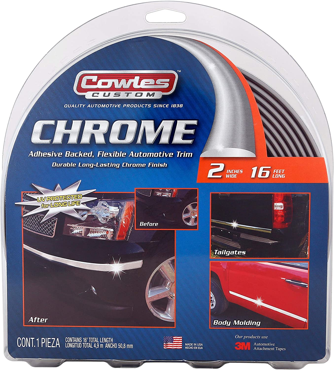 Cowles Body Molding - 2in x 16ft Chrome Molding For Trucks (S38900): Automotive