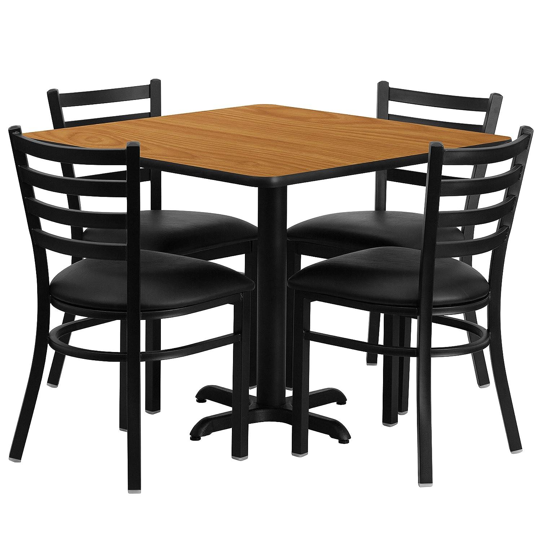 Amazoncom Flash Furniture Square Black Laminate Table Set - Commercial dining table sets