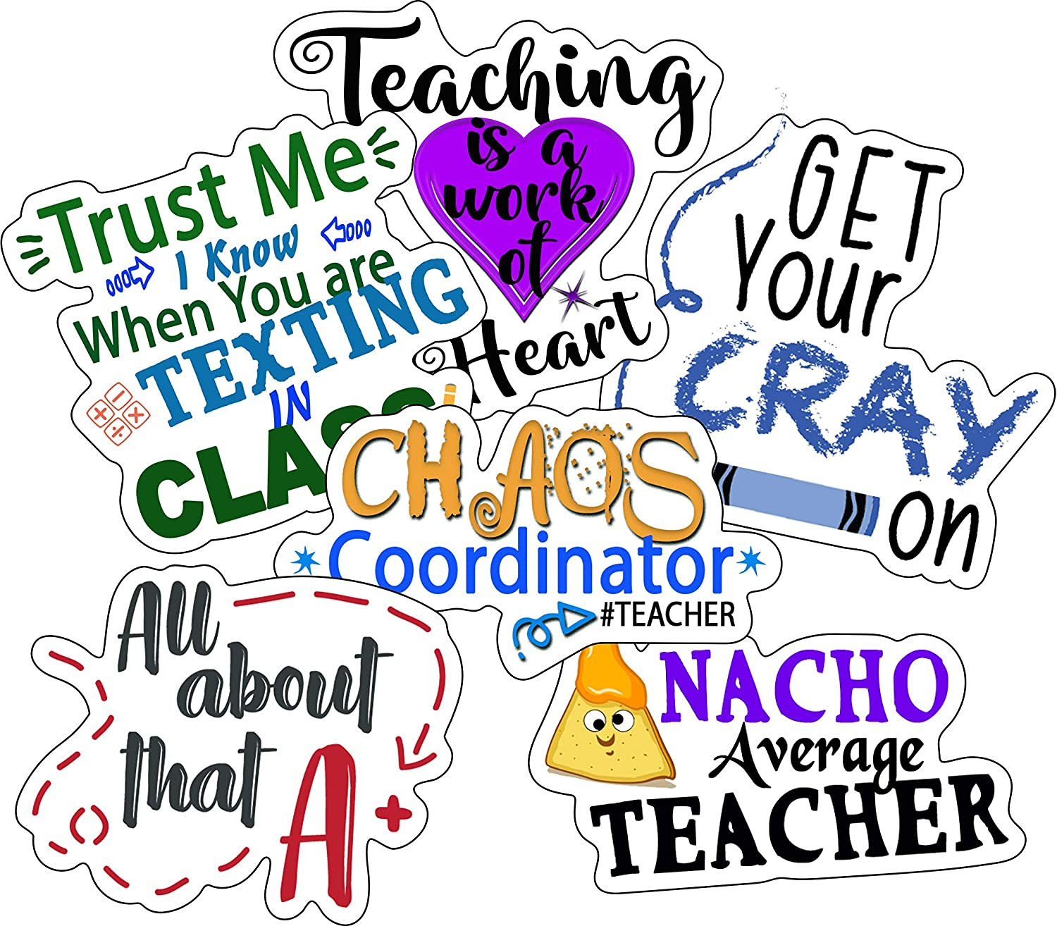Teacher Stickers - Perfect Teacher Appreciation Stickers - Waterproof, Durable 100% Vinyl - Can Be Used On Water Bottles, Laptop, Car Decal, Day Planners