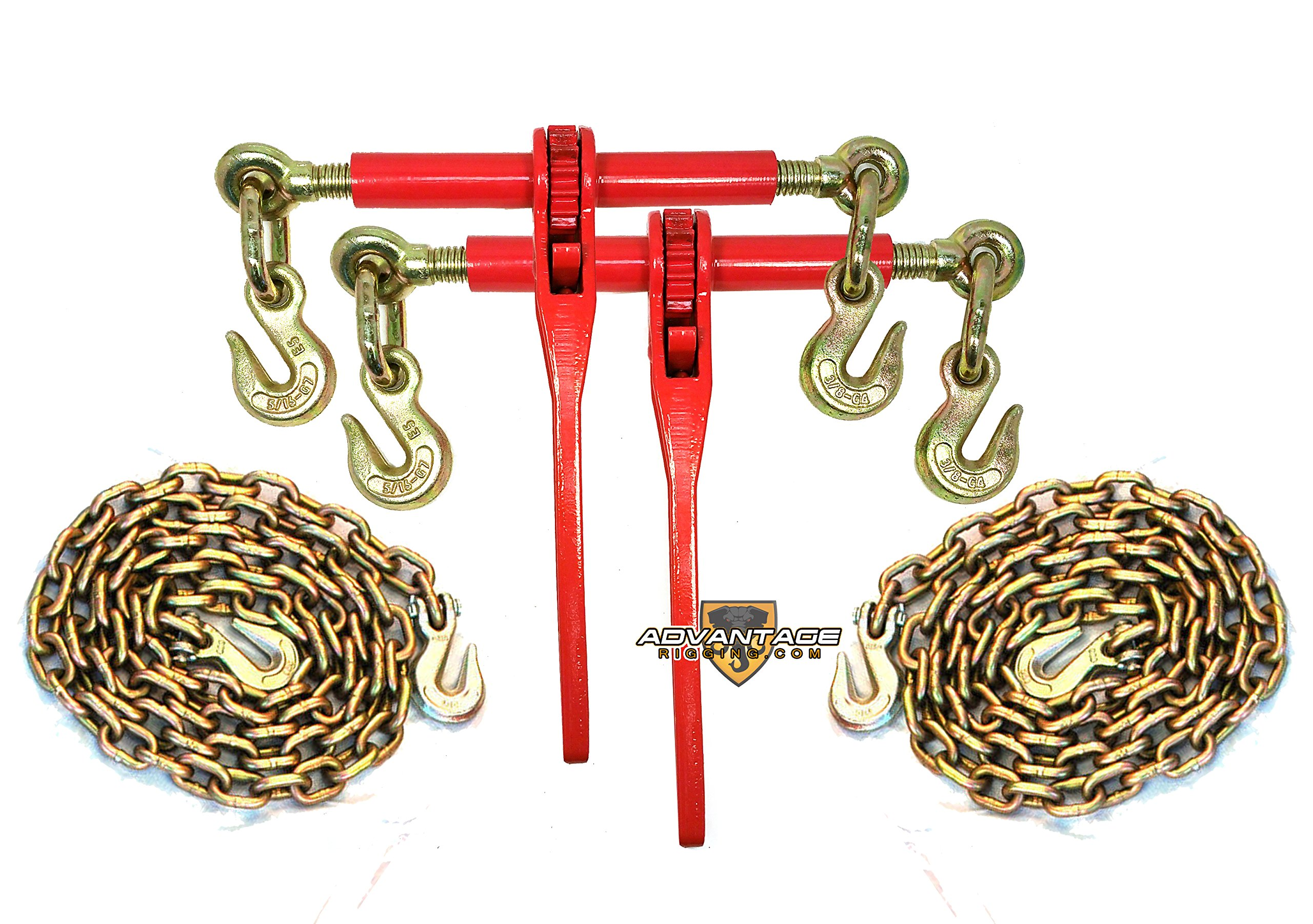 5/16'' Transport Hauling Load Package - (2) Ratchet Binders - (2) 10' Foot Chains