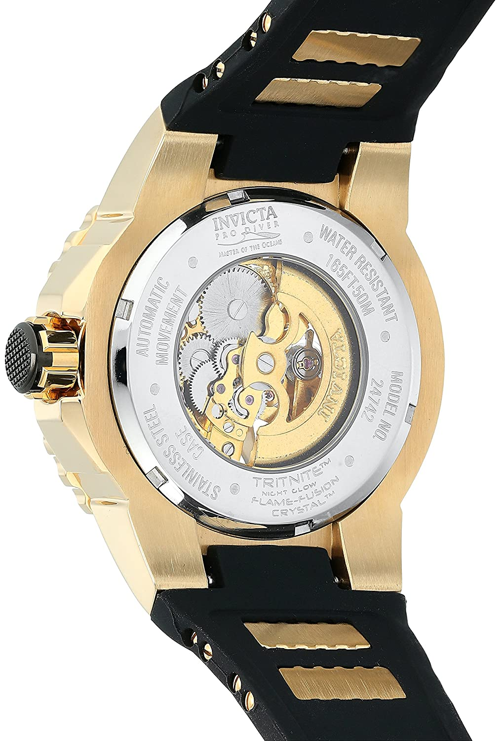Amazon.com: Invicta Mens Pro Diver Automatic Gold-Tone and Stainless Steel Casual Watch, Color:Black (Model: 24742): Invicta: Watches