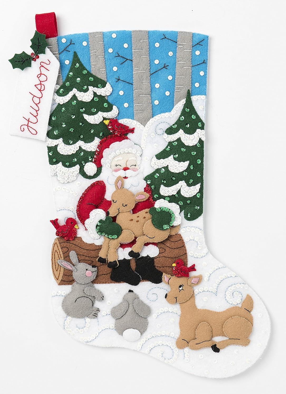 Bucilla 86865 Santa's Forest Family Kit Stocking, Multi Plaid Enterprises Inc.