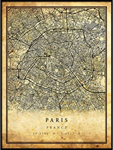 Paris map Vintage Style Poster Print | Old City Artwork Prints | Antique Style Home Decor | France Wall Art Gift | Old map Print 11x14