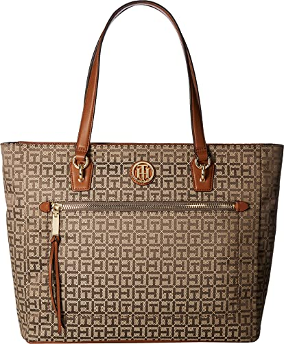 afd9a99638 Amazon.com: Tommy Hilfiger Women's Shannon Tote Tan/Dark Chocolate One Size:  Shoes