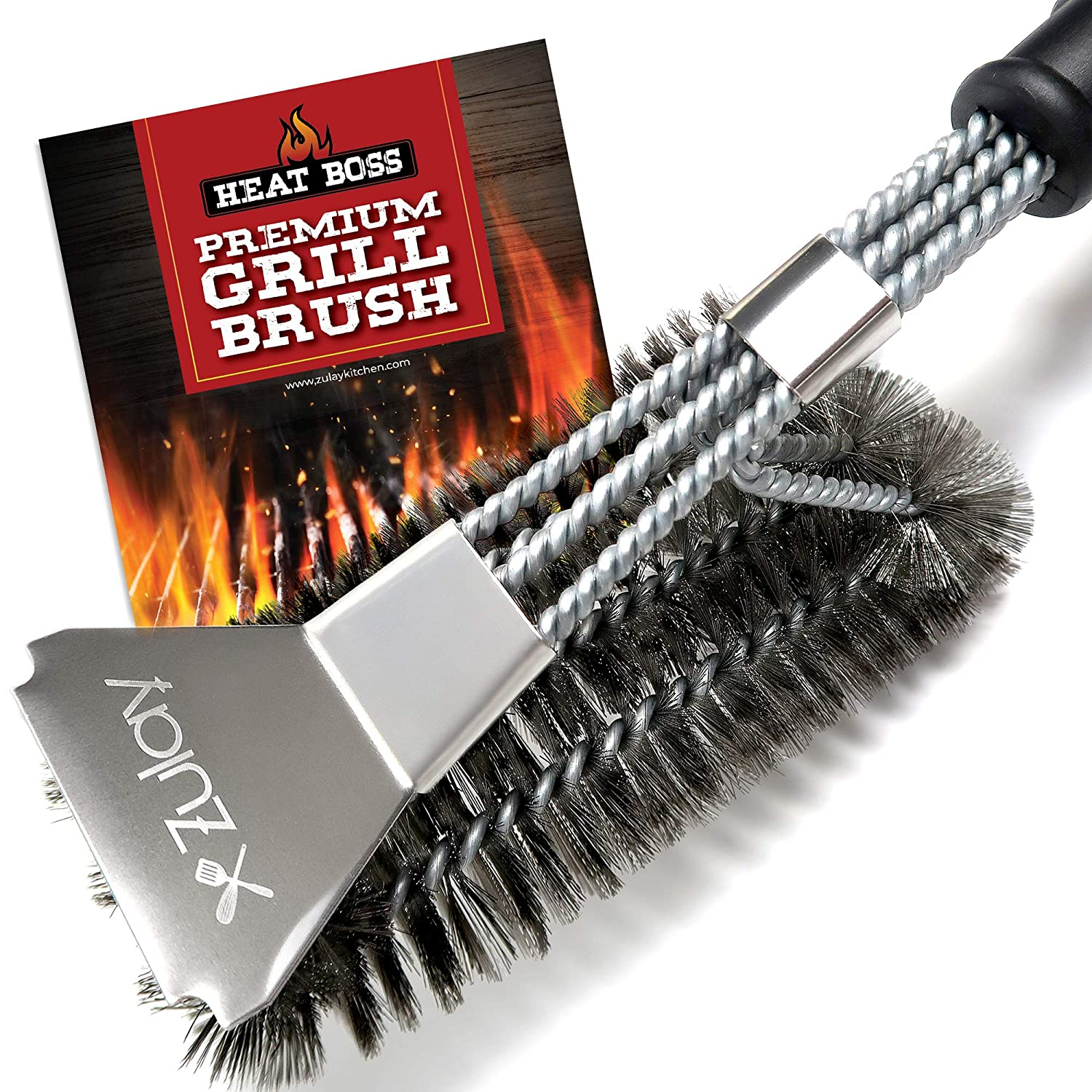 """Heat Boss Grill Brush and Grill Scraper, 3 Rows of Reinforced Stainless Steel Bristles, Best Heavy Duty Grill Cleaner Safe for All Grill Types, Long 18"""" BBQ Grill Brush Handle - by Zulay Kitchen"""