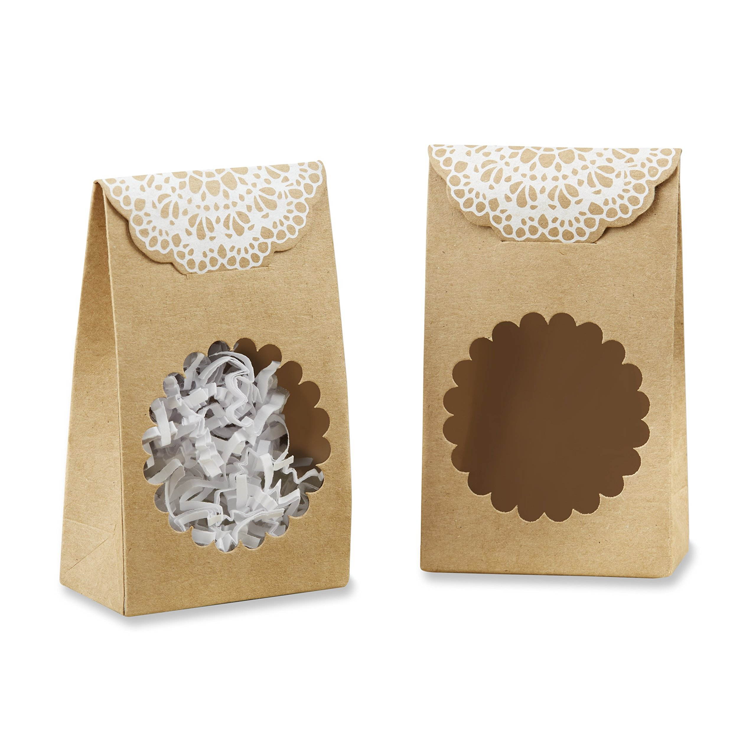 Kate Aspen Rustic Kraft Tent Favor Box (Set of 12), Brown and White