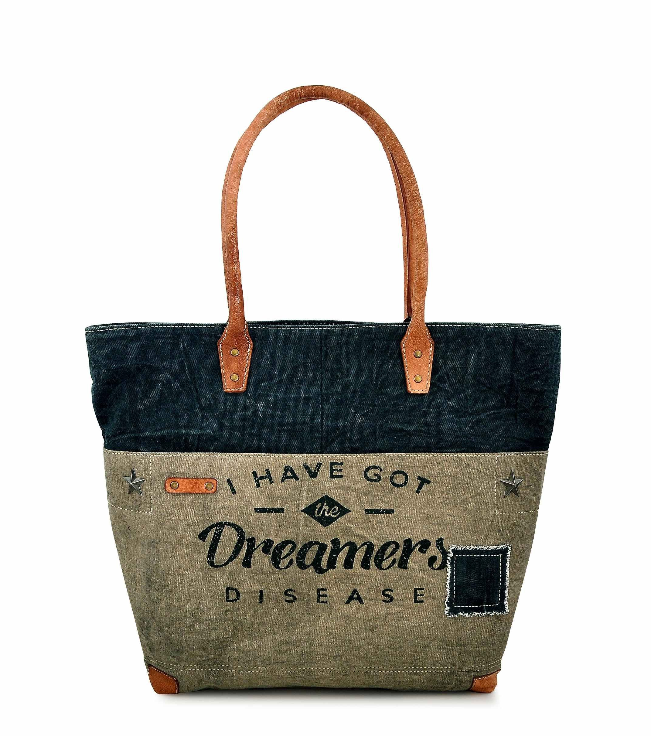 Canvas Tote bag for Women Girls Leather Trims Work Travel Shopper Backpack Cross body Hobo Messenger Shoulder Purse by Daphne (Dreamers_New)