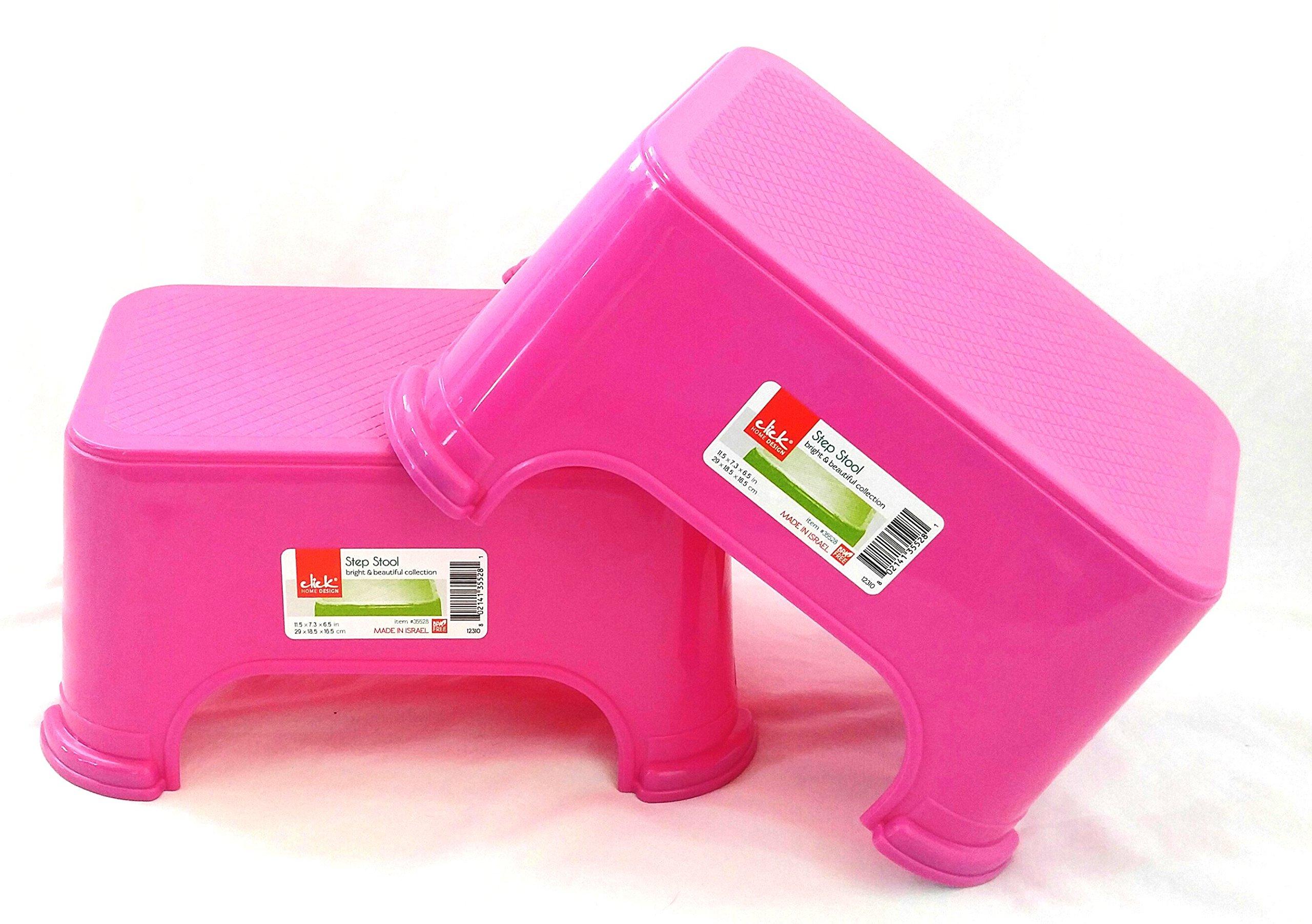 Set of 2 Pink Click Home Design Step Stools (2, Pink)