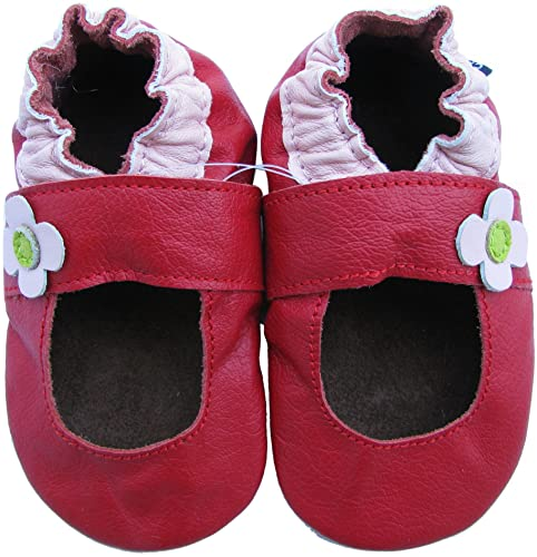 c440977905132 Carozoo Baby Girls  Mary Jane Soft Sole Leather Shoes 24-36 Months Red