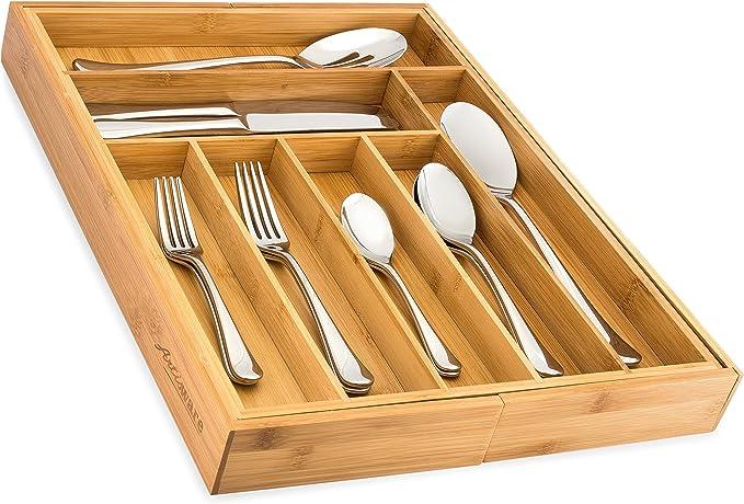 Amazon.com: Organizador de cajones extensible de bambú ...