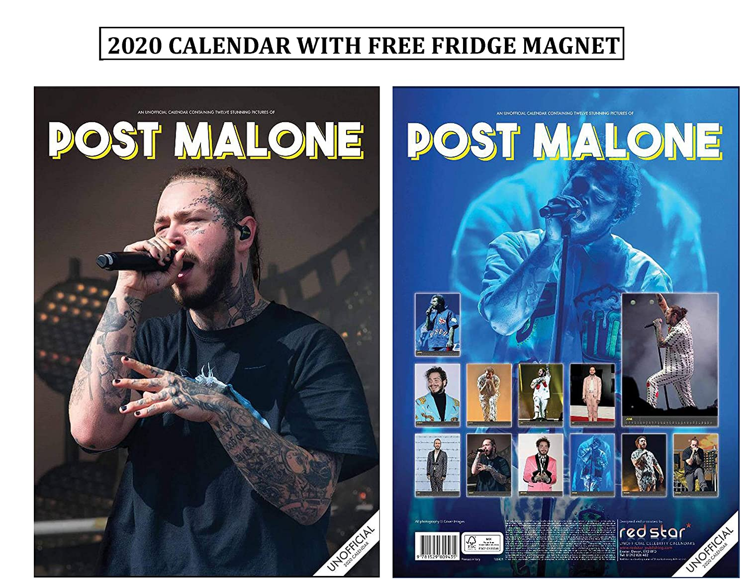 Post Malone Calendario 2020 With Post Malone Imán para Nevera ...