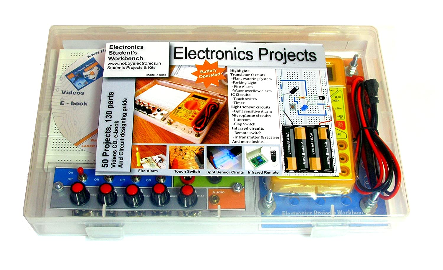 Deepak Enterprise Electronics Workbench Project Kit With 50 Projects Electrical And 120 Parts Office Products
