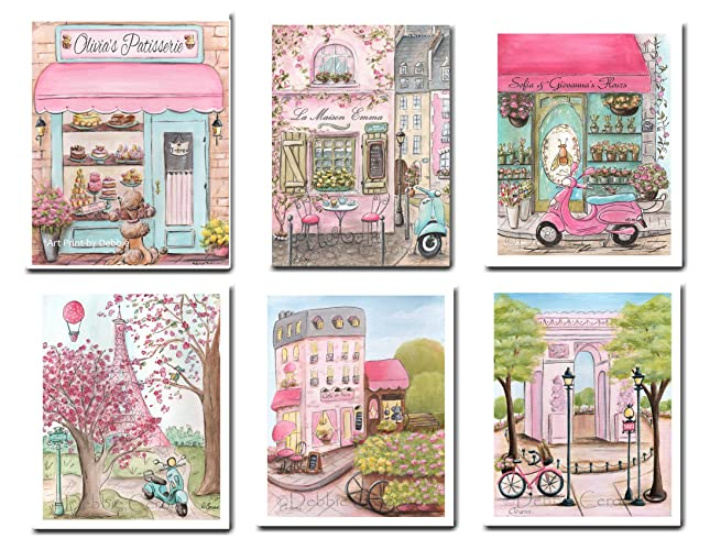 Amazon.com: Paris Wall Art For Girls, Set Of 6 Girls French Bedroom ...