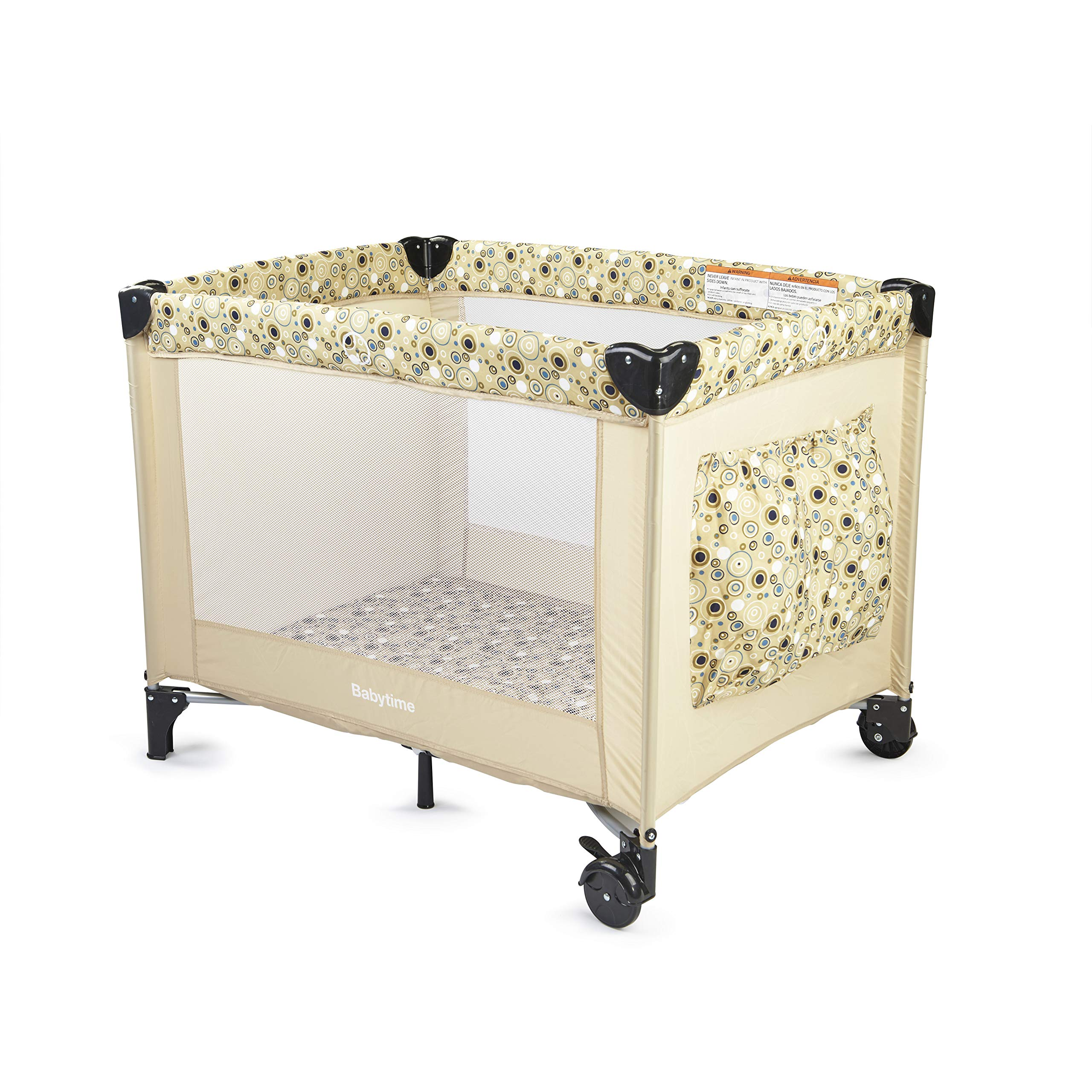 Big Oshi Hudson Portable Playard - Simple, Foldable Nursery Center Includes Carry Bag for Extra Portability and Easy Storage - Lightweight, Sturdy Design, Beige