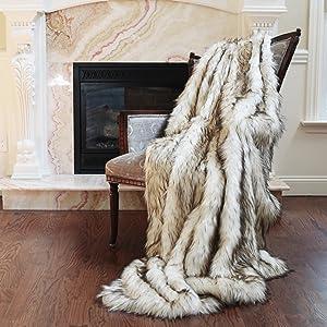 """Best Home Fashion Faux Fur Throw - Lap Blanket - Bleached Finn Raccoon - 58""""W x 36""""L - (1 Throw)"""