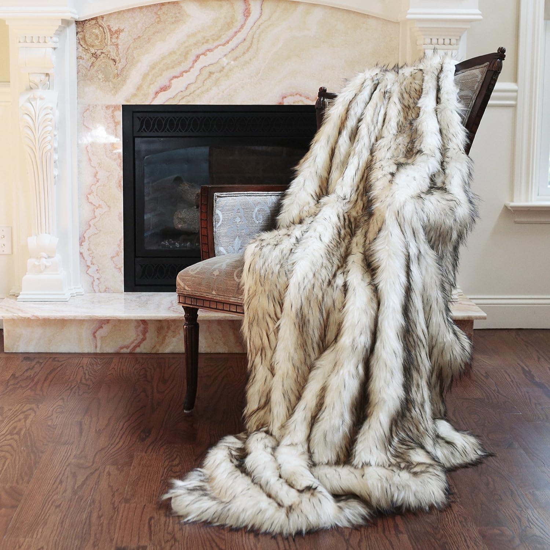 Best Home Fashion Amber Fox Faux Fur Lounge Throw Blanket 58 x 60 - TR BEWBU THROW-AMBERFOX-60
