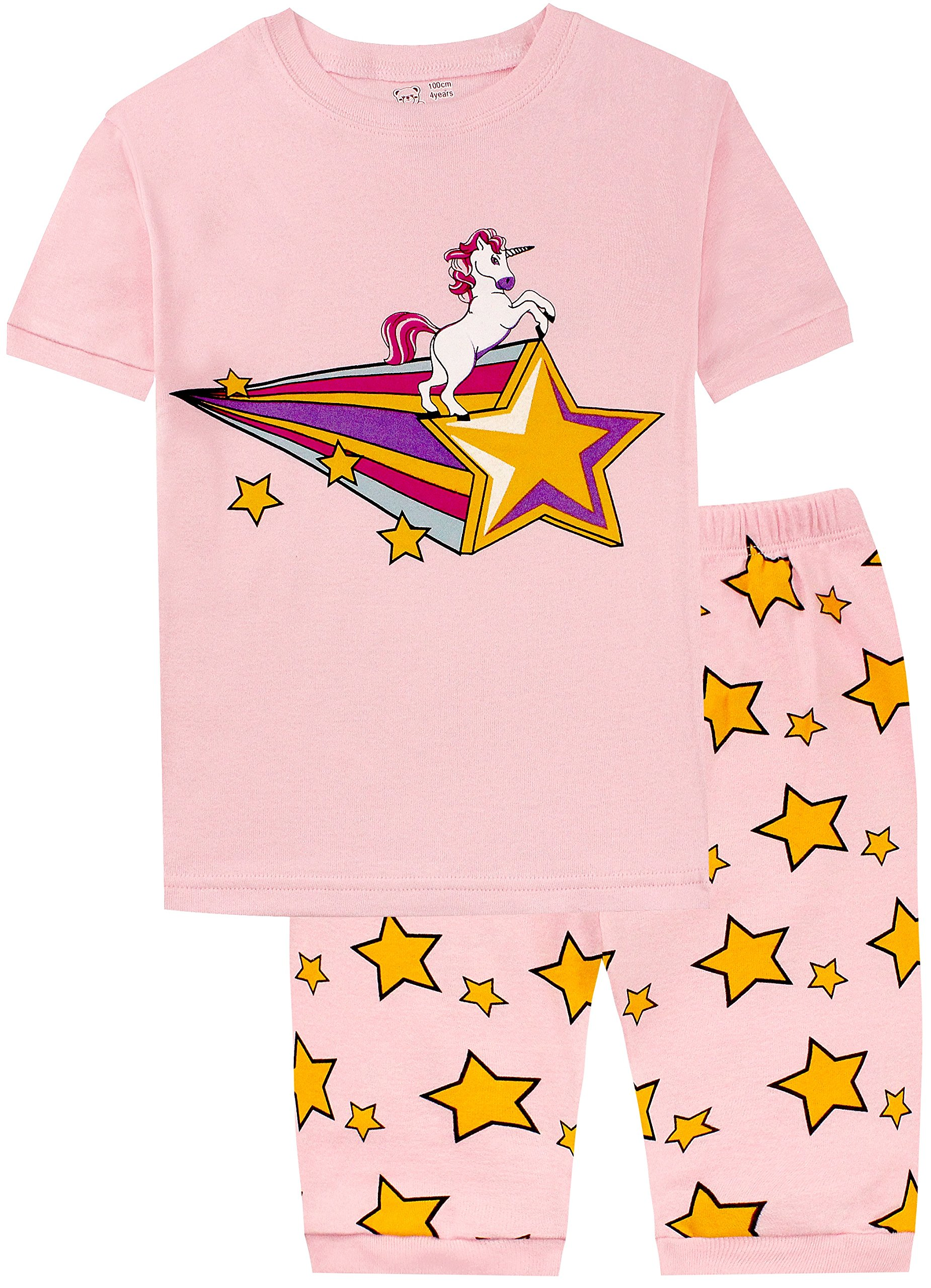 BebeBear Pajamas for Girls Toddler Shorts Unicorn Girls Star Print PJ Sleepwear