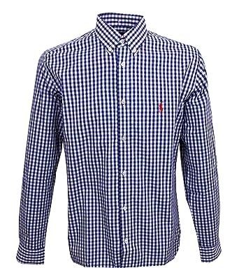 on sale e7b87 6ab3d Ralph Lauren Herrenhemd blau / weiß kariert *roter Reiter* Slim Fit langarm