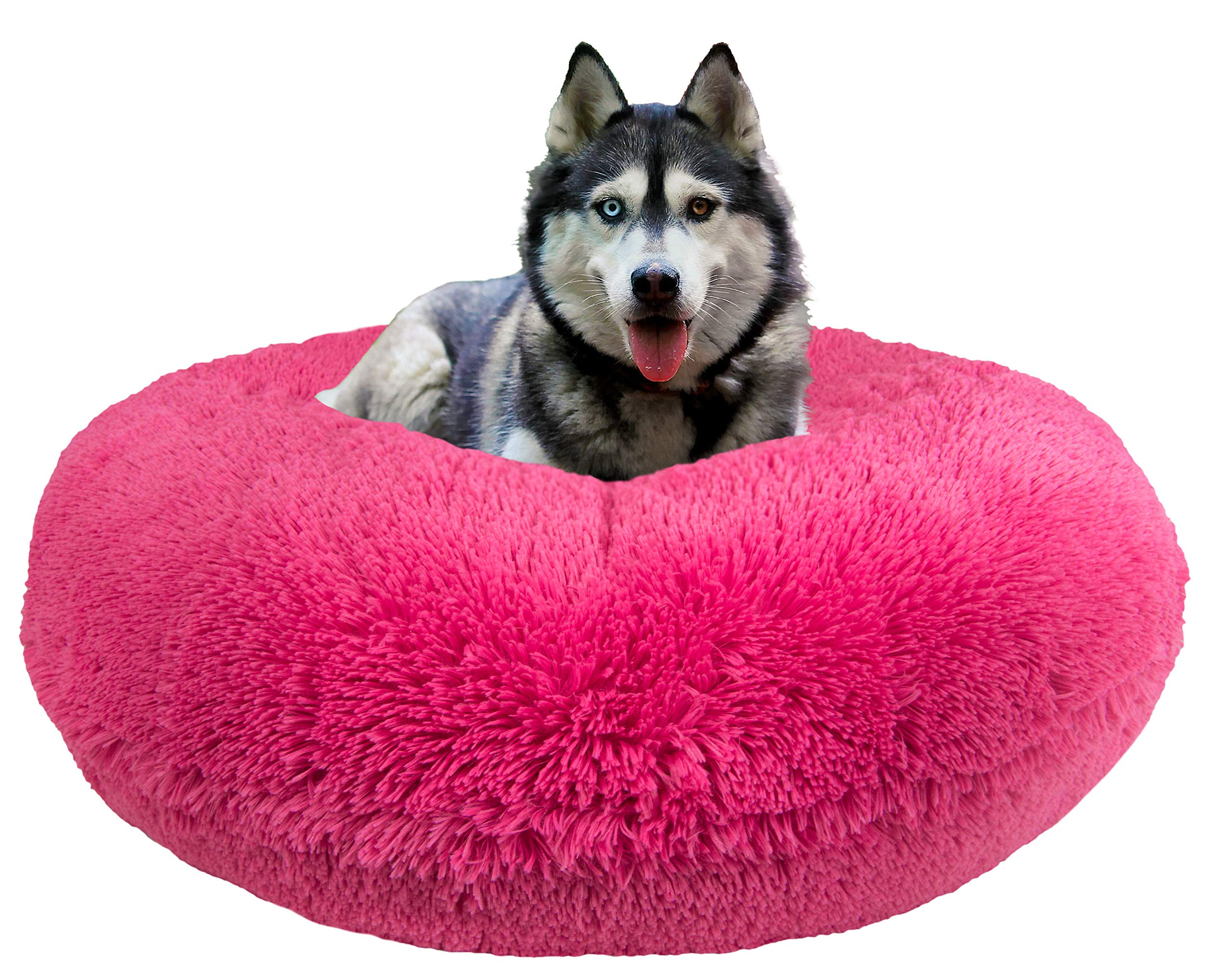 Bessie and Barnie Signature Lollipop Luxury Shag Extra Plush Faux Fur Bagel Pet / Dog Bed (Multiple Sizes) by BESSIE AND BARNIE