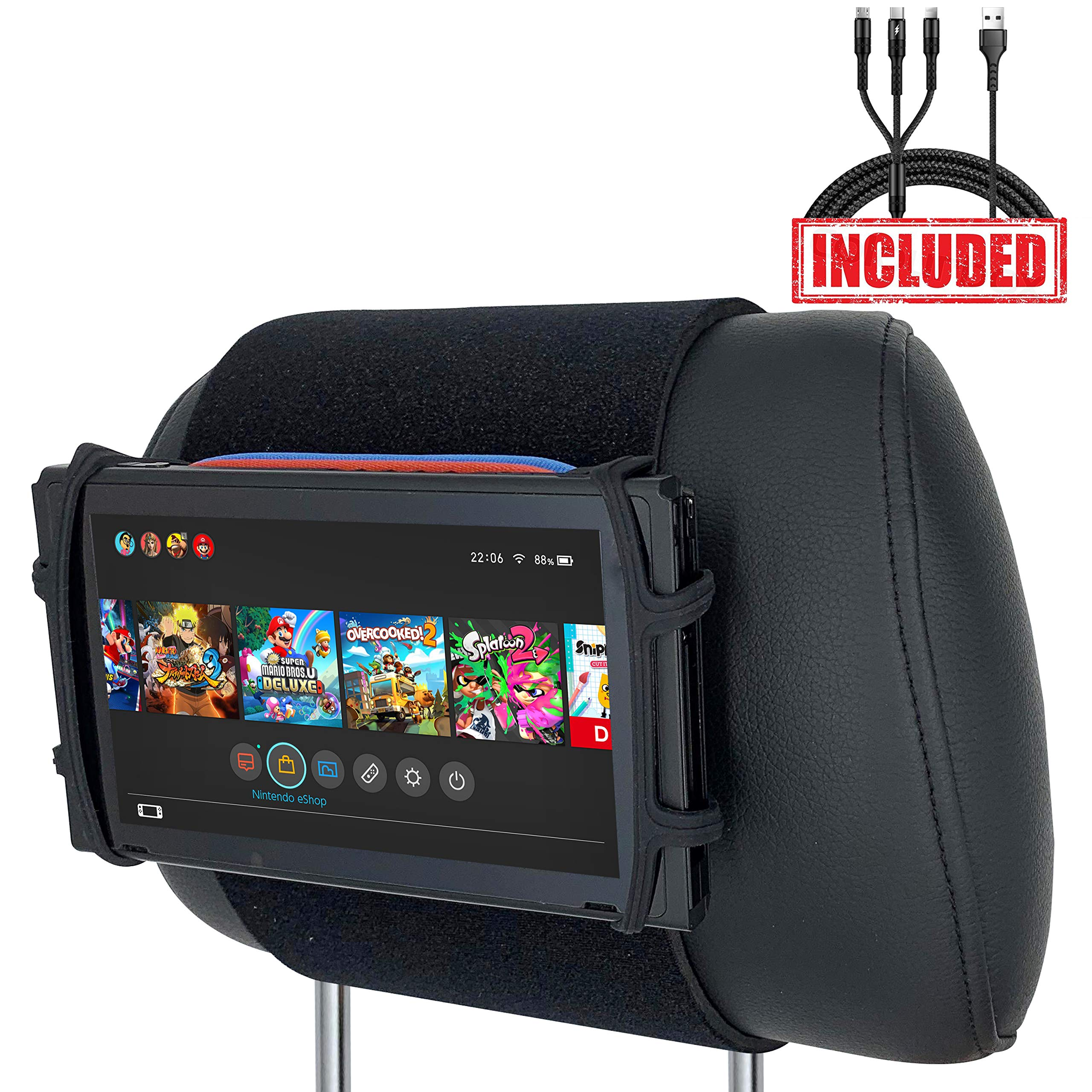 Car Headrest Mount & Silicon Holder for Nintendo Switch Console, iPad Mini, Kindle Paperwhite with 3-in-1 USB Cable (Neon Red/Blue) by LevelHike