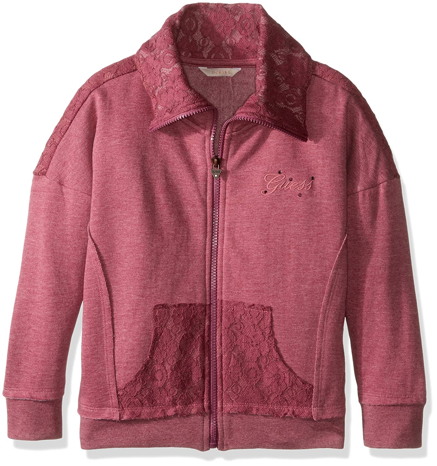 GUESS Girls' Big Zip Front Fleece Jacket with Lace Overlay J64Q7000JAA