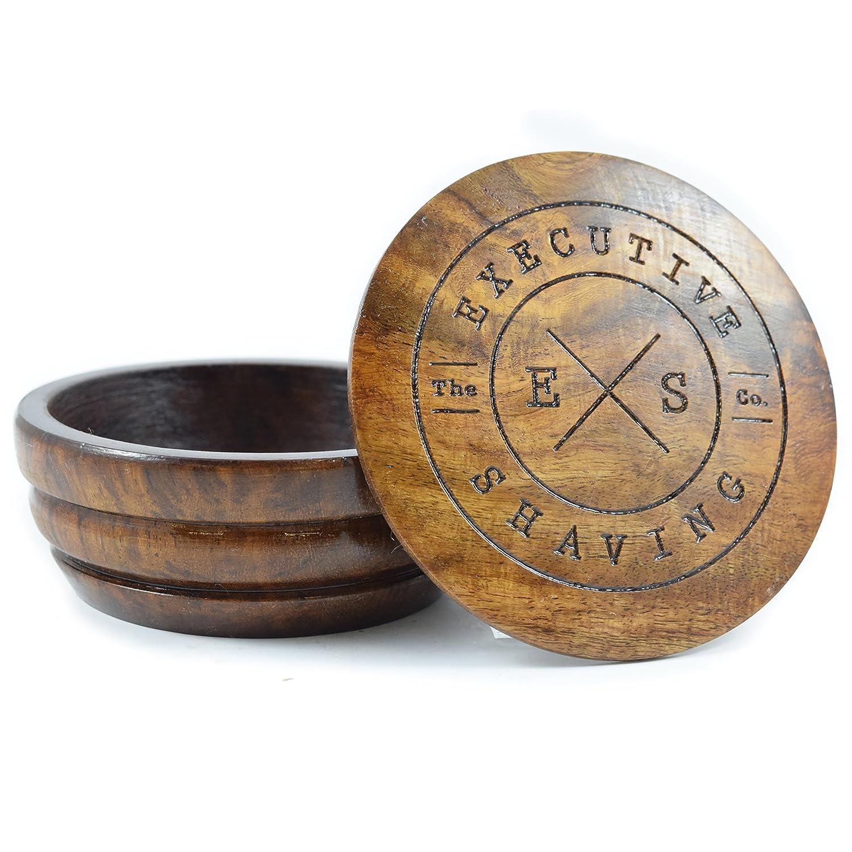 Executive Shaving Large Oak Wood Shaving Soap Lathering Bowl with Lid