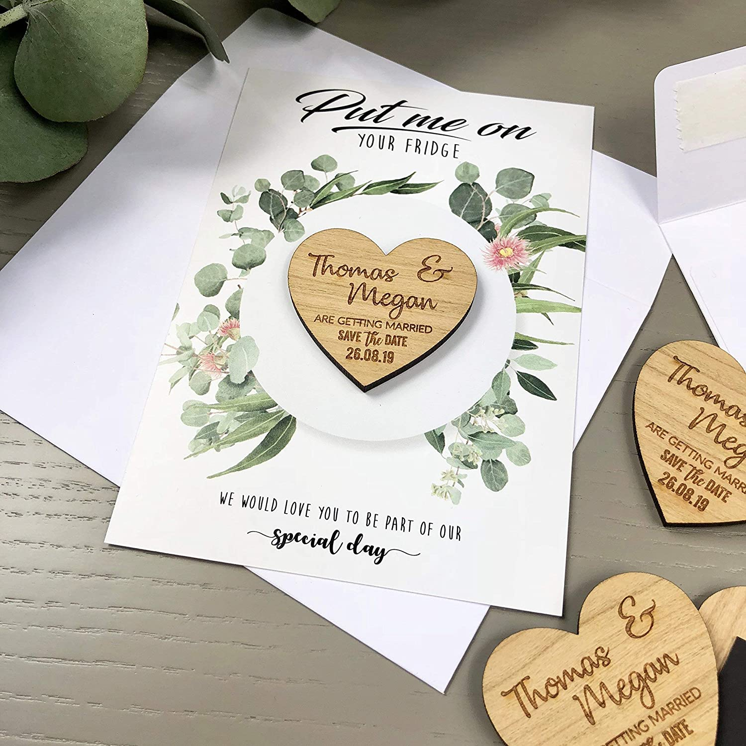 Magnet save the date Rustic save the date Heart wooden save the date