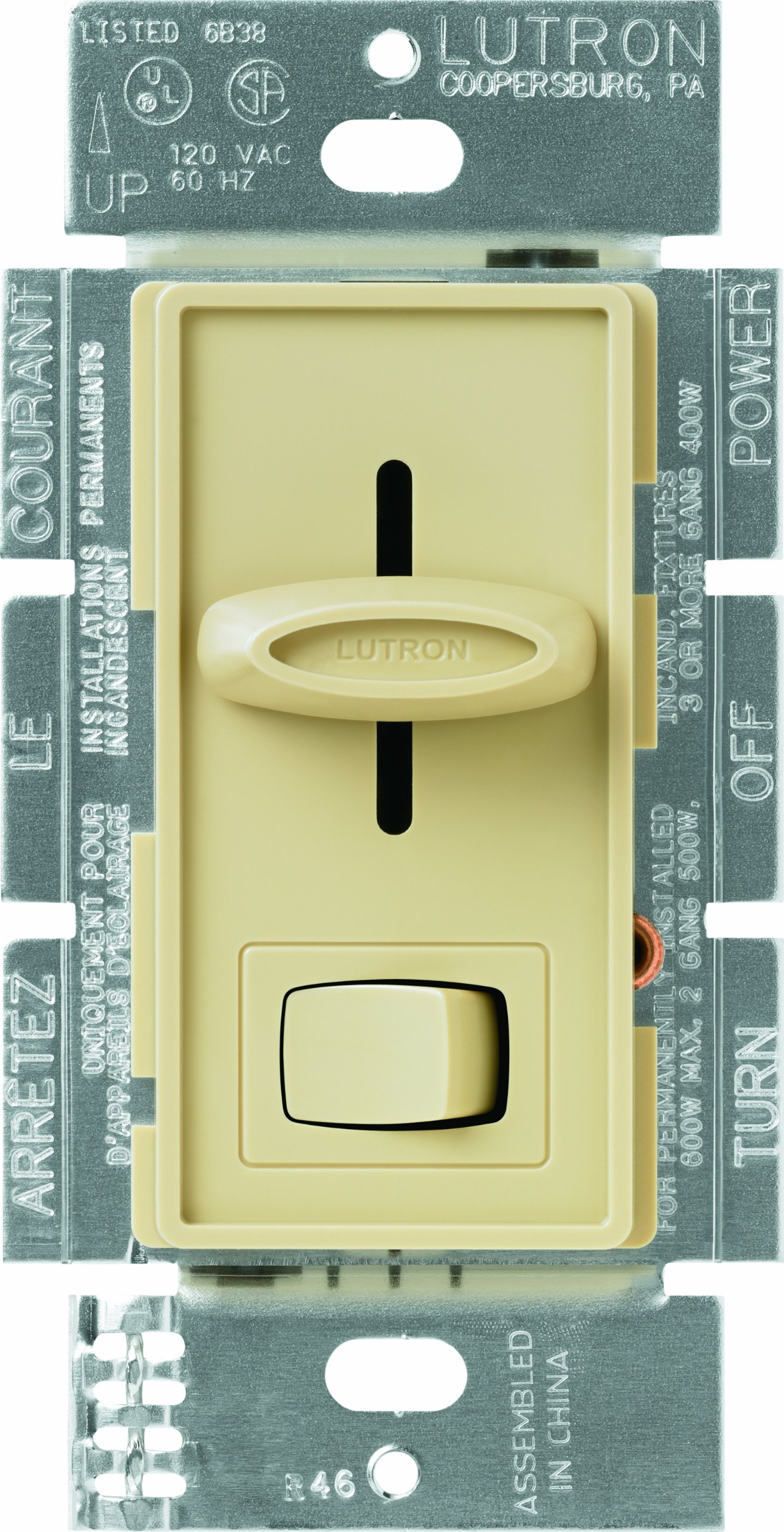 Lutron SELV-300P-IV Skylark Single Pole Electronic Low-Voltage Dimmer with On/Off Switch, 300-watt, Ivory