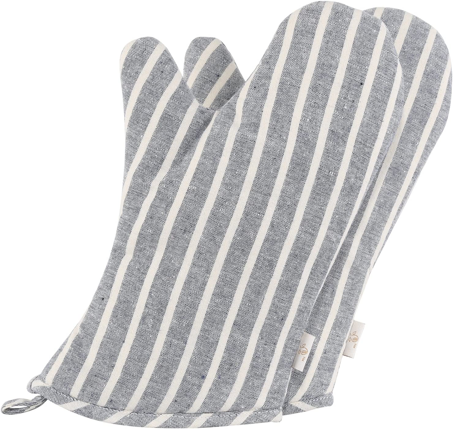 NEOVIVA Denim Quilted Heat Resistant Oven Mitt for Adult Women and Men, Set of 2, Chalk Striped Wild Dove