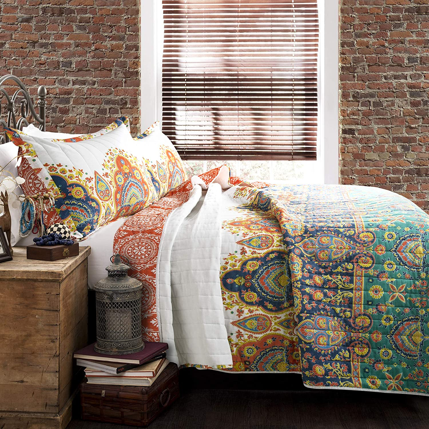 Lush Decor Bohemian Meadow Reversible Quilt 3 Piece Colorful Bedding Set-Full Queen-Turquoise and Orange, Orange & Turquoise