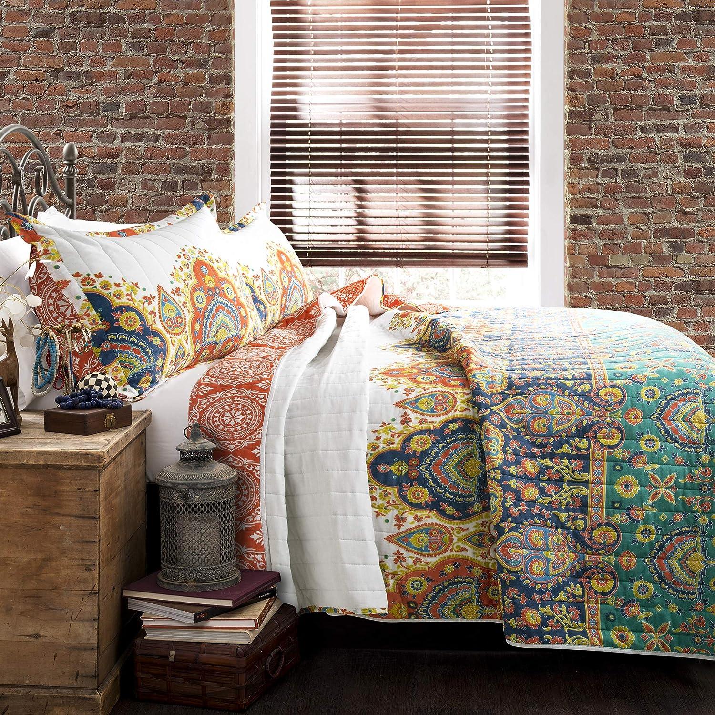 Lush Decor Bohemian Meadow Reversible Quilt 3 Piece Colorful Bedding Set-King-Turquoise and Orange, Orange & Turquoise