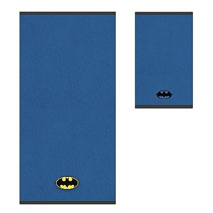 Warner Bros Batman Juego Toallas, algodón, azul, 100 x 50 x 0.5 cm