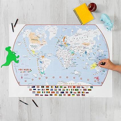 Póster de mapa del mundo para colorear con banderas, póster de colorear para niños para el joven aventurero: Amazon.es: Oficina y papelería
