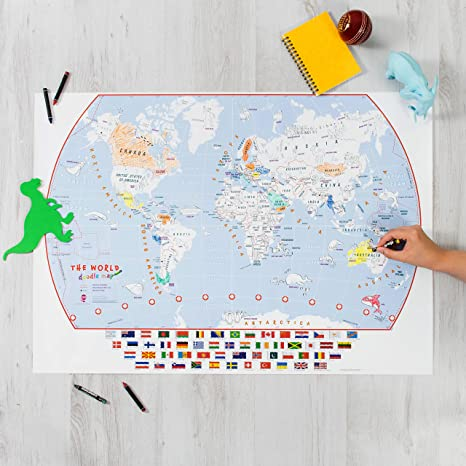 Amazon Com World Map Coloring Poster With Flags Kid S Coloring Poster For The Young Adventurer Office Products